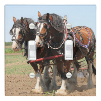 Beautiful clydesdale horses ploughing light switch cover