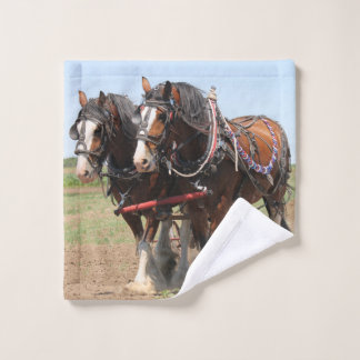 Beautiful clydesdale horses ploughing wash cloth