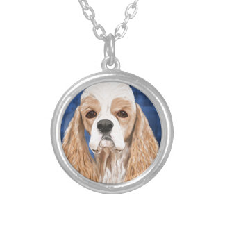 Beautiful Cocker Spaniel, Brown Creme Coat on Blue Silver Plated Necklace