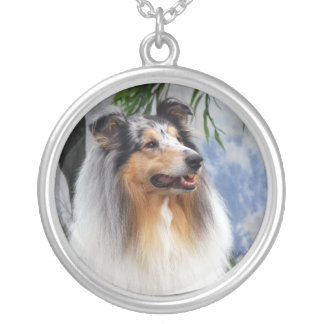 Beautiful Collie dog blue merle necklace, gift Silver Plated Necklace
