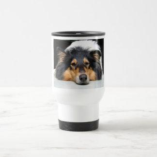 Beautiful Collie dog nose tri travel commuter mug