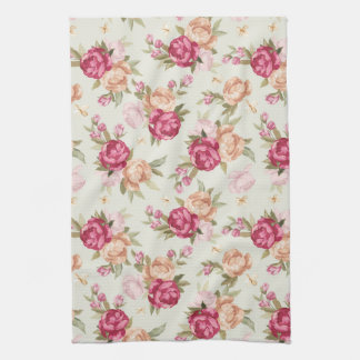 Beautiful color peony pattern on green kitchen towel