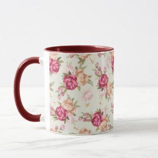 Beautiful color peony pattern on green mug