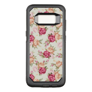 Beautiful color peony pattern on green OtterBox commuter samsung galaxy s8 case