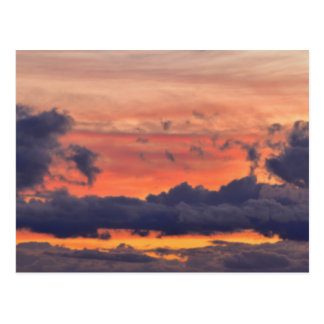 Beautiful colored sunset sky with clouds postcard