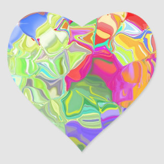 Beautiful Colorful Abstract Art Ice Cubes Gifts Heart Sticker