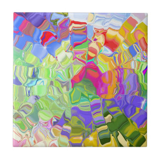 Beautiful Colorful Abstract Art Ice Cubes Gifts Ceramic Tile
