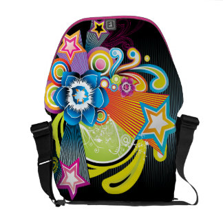 Beautiful Colorful Abstract Flower & 3D Stars Courier Bags