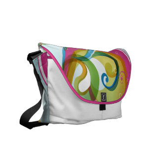 Beautiful Colorful Abstract Swirls & Bubbles White Commuter Bags