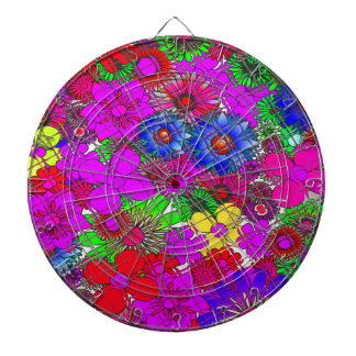 Beautiful colorful amazing floral pattern design a dartboard