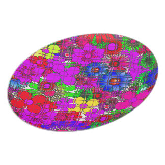 Beautiful colorful amazing floral pattern design a plate