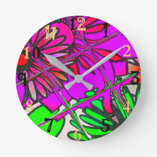 Beautiful colorful amazing floral pattern design a round clock