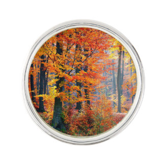 Beautiful colorful autumn fall forest sunbeams lapel pin