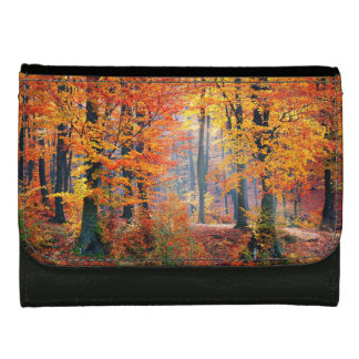 Beautiful colorful autumn forest sunbeams leather wallet