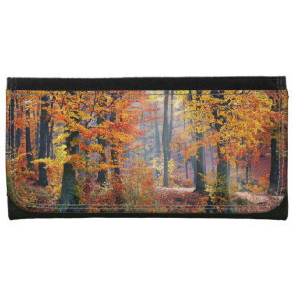 Beautiful colorful autumn forest sunbeams leather wallet for women