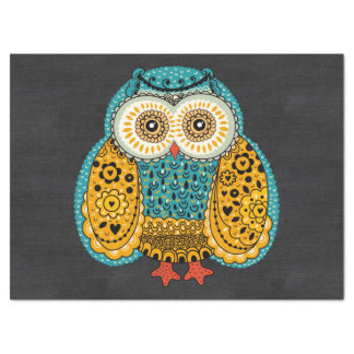 Beautiful Colorful Boho Retro Owl Tissue Paper