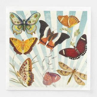 Beautiful Colorful Butterflies Nature Paper Napkin