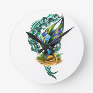 Beautiful Colorful Celtic Forest Faery Round Clock