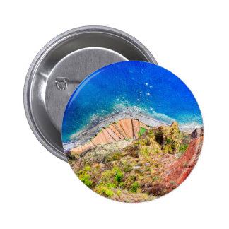 Beautiful colorful coastal landscape with blue sea 2 inch round button