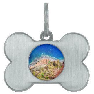 Beautiful colorful coastal landscape with blue sea pet tag