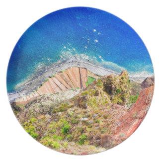Beautiful colorful coastal landscape with blue sea plate
