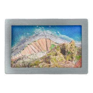 Beautiful colorful coastal landscape with blue sea rectangular belt buckle