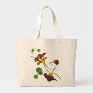 Beautiful Colorful Embroidered Nasturtiums Jumbo Tote Bag