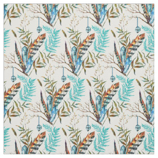 Beautiful Colorful Feathers With Blue Crystals Fabric