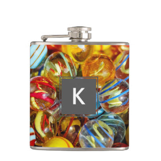 beautiful colorful glass marble balls photograph hip flask