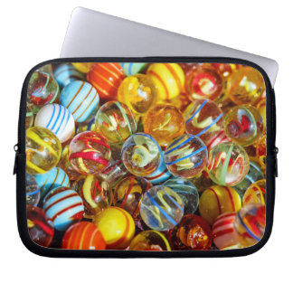 beautiful colorful glass marble balls photograph laptop computer sleeve