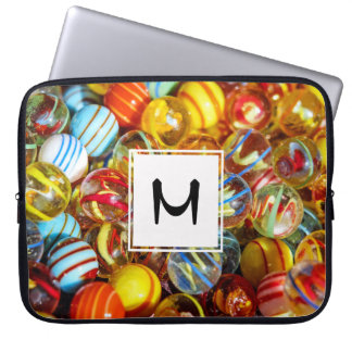 beautiful colorful glass marble balls photograph laptop sleeve