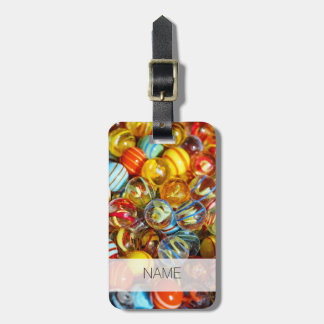 beautiful colorful glass marble balls photograph luggage tag