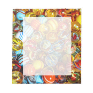 beautiful colorful glass marble balls photograph notepad