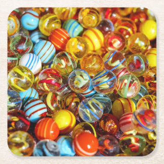 beautiful colorful glass marble balls photograph square paper coaster