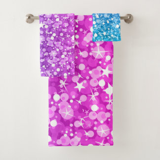 Beautiful Colorful Glitter Pattern Bath Towel Set