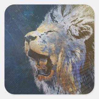 Beautiful colorful lion square sticker