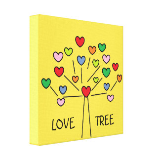 Beautiful Colorful LOVE Hearts Tree Design Canvas Print