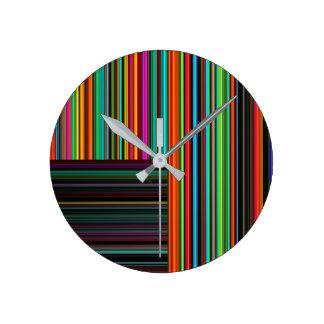 Beautiful Colorful Multicolored Stripe Pattern Round Clock