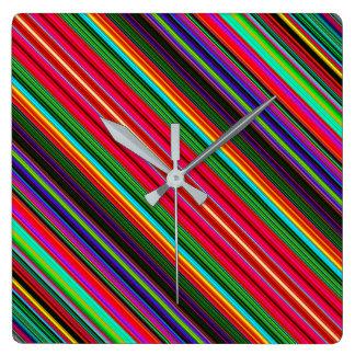 Beautiful Colorful Multicolored Stripe Pattern Square Wall Clock