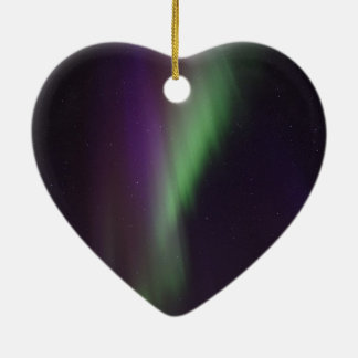 Beautiful colorful northern lights ceramic heart ornament