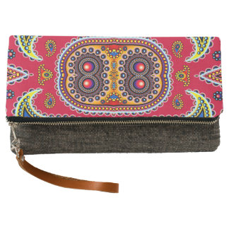Beautiful Colorful Paisley Pattern,Red Paisley Clutch