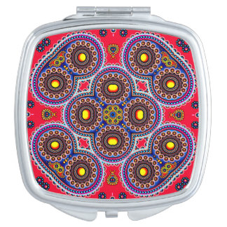 Beautiful Colorful Paisley Pattern,Red Paisley Compact Mirror