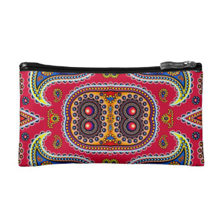 Beautiful Colorful Paisley Pattern,Red Paisley Cosmetic Bag