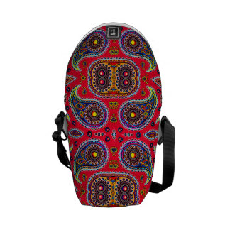 Beautiful Colorful Paisley Pattern,Red Paisley Courier Bags