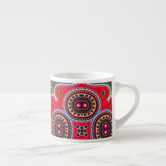 Beautiful Colorful Paisley Pattern,Red Paisley Espresso Cup