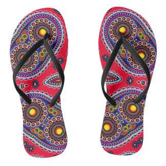 Beautiful Colorful Paisley Pattern,Red Paisley Flip Flops