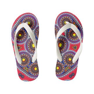 Beautiful Colorful Paisley Pattern,Red Paisley Kid's Flip Flops