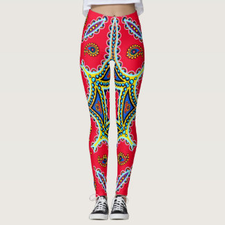 Beautiful Colorful Paisley Pattern,Red Paisley Leggings