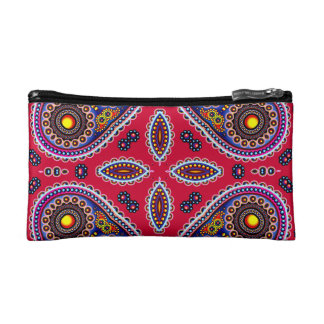 Beautiful Colorful Paisley Pattern,Red Paisley Makeup Bag