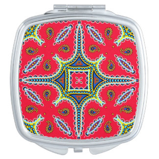 Beautiful Colorful Paisley Pattern,Red Paisley Makeup Mirror